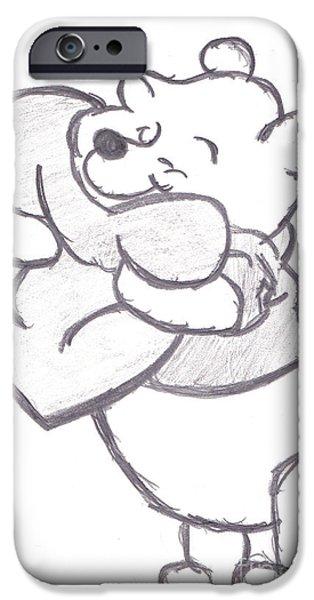 Huggable Pooh Bear iPhone Case by Melissa Vijay Bharwani