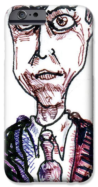 Pen And Ink iPhone Cases - Hugh Grant iPhone Case by Del Gaizo