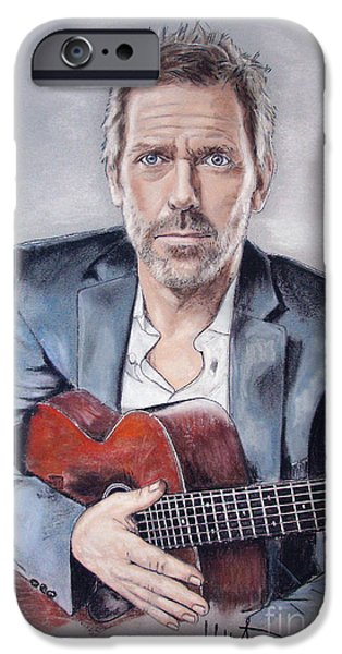 House Pastels iPhone Cases - Hugh Laurie iPhone Case by Melanie D