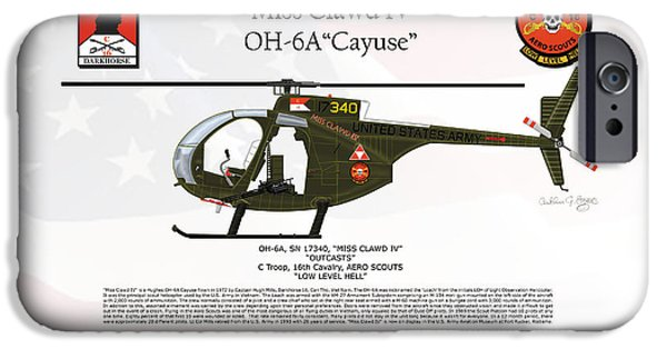 Rucker iPhone Cases - Hughes OH-6A Cayuse Miss Clawd IV iPhone Case by Arthur Eggers