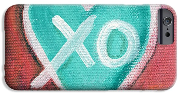 Outsider iPhone Cases - Hugs and Kisses Heart iPhone Case by Linda Woods