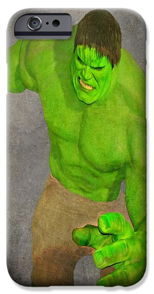 Photographs Mixed Media iPhone Cases - Hulk the Angry Guy iPhone Case by David Dehner