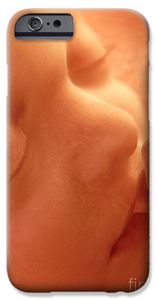 Lips iPhone Cases - Human Fetus Sucking Its Thumb, Artwork iPhone Case by Jellyfish Pictures