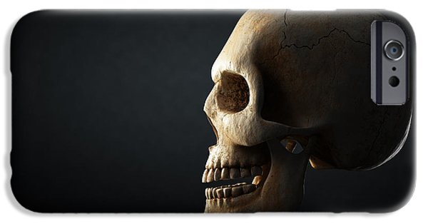 Reflective iPhone Cases - Human skull profile on dark background iPhone Case by Johan Swanepoel