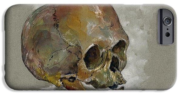 Medicine Paintings iPhone Cases - Human Skull study iPhone Case by Juan  Bosco