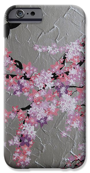 Baby Bird Mixed Media iPhone Cases - Humming Bird With Cherry Blossom iPhone Case by Cathy Jacobs