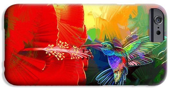 Ruby Garden Jewel iPhone Cases - Hummingbird 4u2c iPhone Case by Ruben Furio