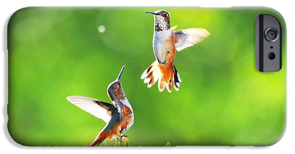 Small iPhone Cases - Hummingbird Dance  iPhone Case by Lynn Bauer