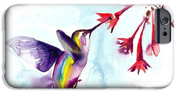Het Paintings iPhone Cases - Hummingbird in Red Flowers Watercolor iPhone Case by Tiberiu Soos