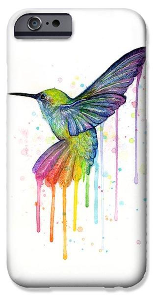 Hummingbird iPhone Cases - Hummingbird of Watercolor Rainbow iPhone Case by Olga Shvartsur