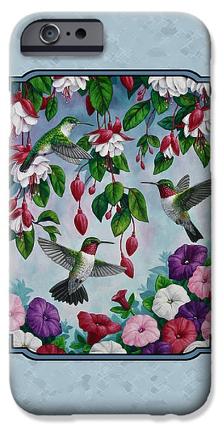 Fuchsia iPhone Cases - Hummingbirds and Flowers Cyan Pillow and Duvet Cover iPhone Case by Crista Forest