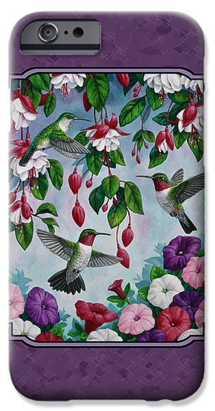 Fuchsia iPhone Cases - Hummingbirds and Flowers Duvet Cover iPhone Case by Crista Forest