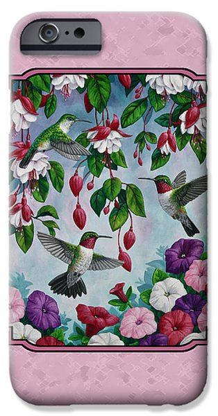 Fuchsia iPhone Cases - Hummingbirds and Flowers Pink Pillow and Duvet Cover iPhone Case by Crista Forest