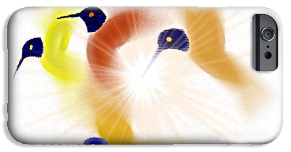 Pastel iPhone Cases - Hummingbirds and sun iPhone Case by Dana G