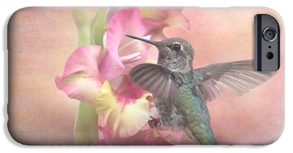 Baby Bird iPhone Cases - Hummingbirds Gladiola iPhone Case by Angie Vogel