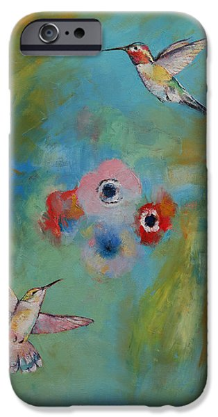 Michael Paintings iPhone Cases - Hummingbirds iPhone Case by Michael Creese