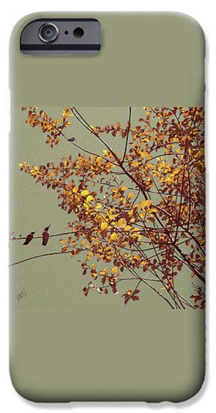 Brg iPhone Cases - Hummingbirds On Yellow Tree iPhone Case by Ben and Raisa Gertsberg