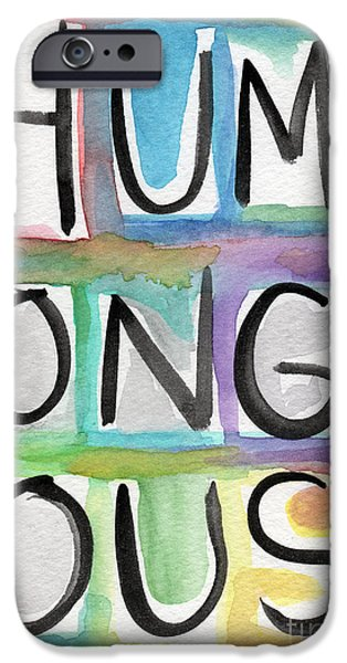 Colorful Abstract iPhone Cases - Humongous Word Painting iPhone Case by Linda Woods