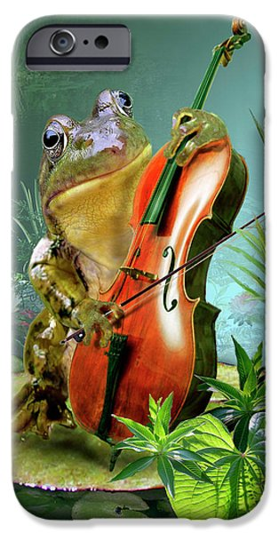 Amphibians Digital Art iPhone Cases - Humorous scene frog playing cello in lily pond iPhone Case by Gina Femrite
