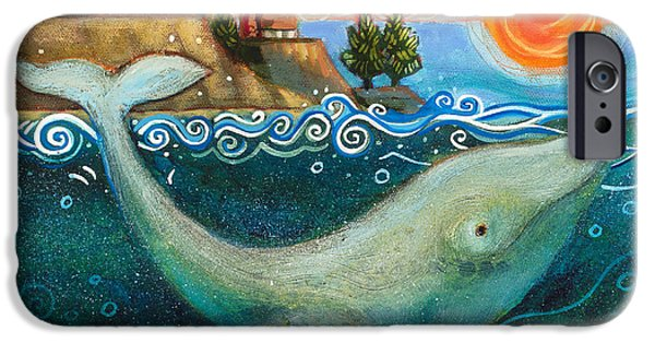 Santa Cruz iPhone Cases - Humpback Whales in Santa Cruz iPhone Case by Jen Norton