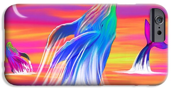 Whale Digital iPhone Cases - Humpback Whales Sunset iPhone Case by Nick Gustafson