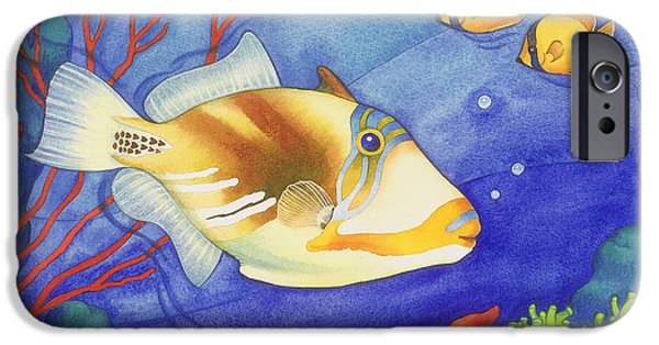 Triggerfish Paintings iPhone Cases - Humu Picasso Triggerfish iPhone Case by Laura Nikiel