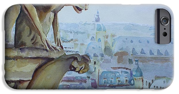 Notre Dame Cathedral iPhone Cases - Hunchbacked Gargoyle iPhone Case by Jenny Armitage