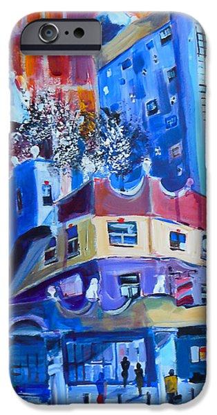 Friedensreich iPhone Cases - Hundertwasserhaus iPhone Case by Joe Giuffrida