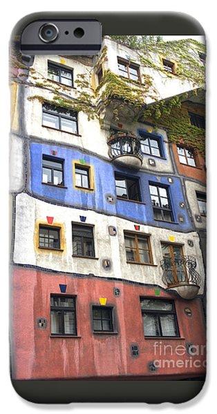 Friedensreich iPhone Cases - Hundertwasserhaus Vienna iPhone Case by Julie Woodhouse