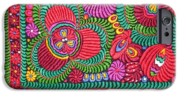Andrea Lazar iPhone Cases - Hungarian Magyar Matyo Folk Embroidery  iPhone Case by  Andrea Lazar