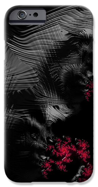 Hunger iPhone Cases - Hunger - dark and blood red fractal art iPhone Case by Matthias Hauser
