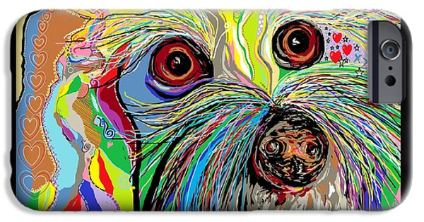Dogs iPhone Cases - Hunter . . . Hes a Shoe Man iPhone Case by Eloise Schneider