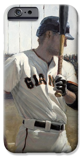 World Series Paintings iPhone Cases - Hunter Pence On Deck iPhone Case by Darren Kerr