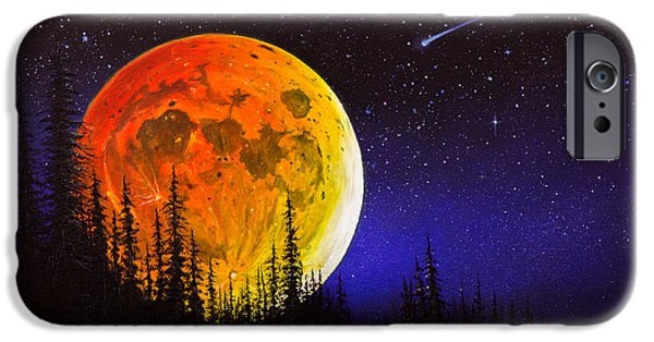 Recently Sold -  - Bob Ross Paintings iPhone Cases - Hunters Harvest Moon iPhone Case by C Steele