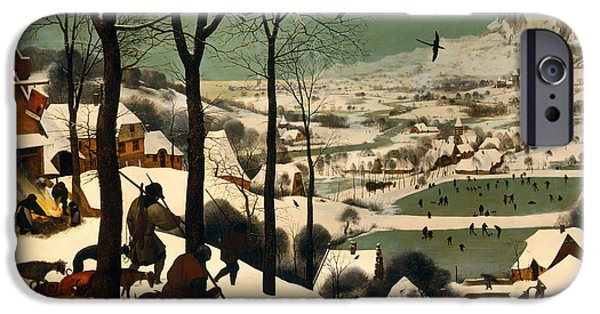 House Pet Paintings iPhone Cases - Hunters in the Snow iPhone Case by Pieter Brueghel