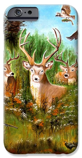 American Eagle Paintings iPhone Cases - Hunters Paradise iPhone Case by Bill Holkham
