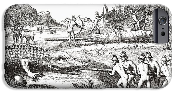Alligator iPhone Cases - Hunting Alligators In The Southern States Of America, From An Illustration In The 16th Century Book iPhone Case by Bridgeman Images
