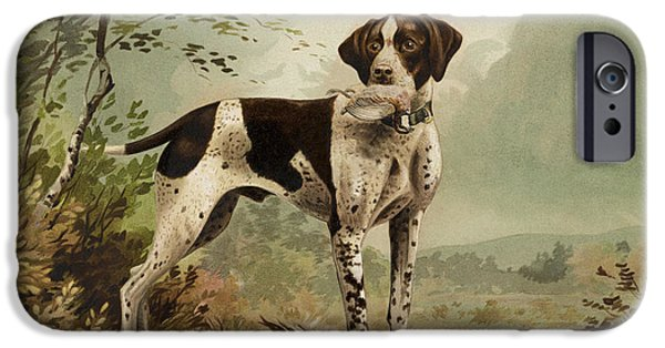 Purebred iPhone Cases - Hunting Dog circa 1879 iPhone Case by Aged Pixel