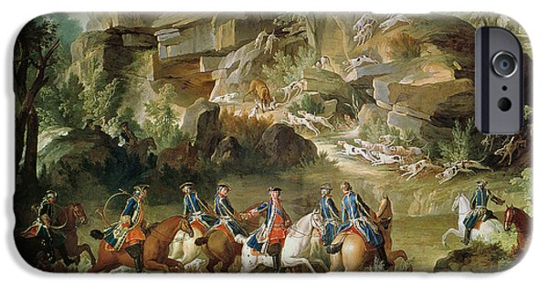Horse iPhone Cases - Hunting In The Forest Of Fontainebleau At Franchard Oil On Canvas iPhone Case by Jean-Baptiste Oudry