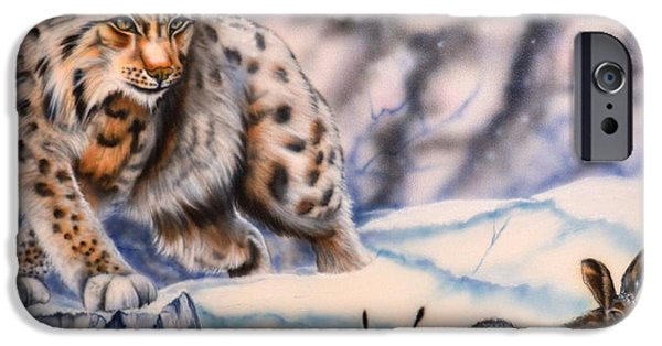 Airbrush Drawings iPhone Cases - Hunting lynx iPhone Case by Andrea Pischel