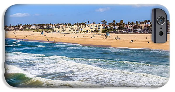 Pacific Ocean Prints iPhone Cases - Huntington Beach California Panorama Photo iPhone Case by Paul Velgos
