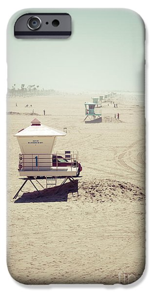 Huntington Beach Lifeguard Tower #1 Vintage Picture iPhone Case by Paul Velgos