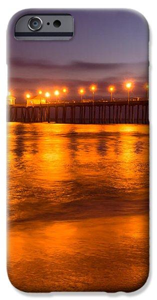 Huntington Beach Pier at Night iPhone Case by Paul Velgos