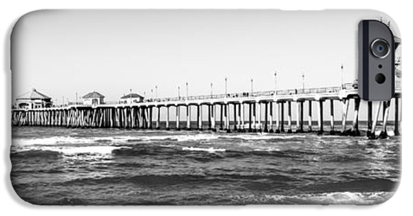 Pacific Ocean Prints iPhone Cases - Huntington Beach Pier Black and White Panorama iPhone Case by Paul Velgos
