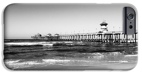 Getaway iPhone Cases - Huntington Beach Pier Black and White Picture iPhone Case by Paul Velgos