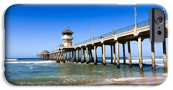Getaway iPhone Cases - Huntington Beach Pier in Southern California iPhone Case by Paul Velgos