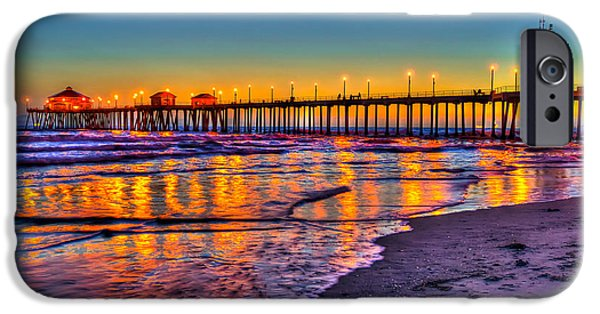 Recently Sold -  - Ocean Sunset iPhone Cases - Huntington Beach Pier Sundown iPhone Case by Jim Carrell