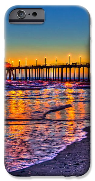 Huntington Beach Pier Sundown iPhone Case by Jim Carrell