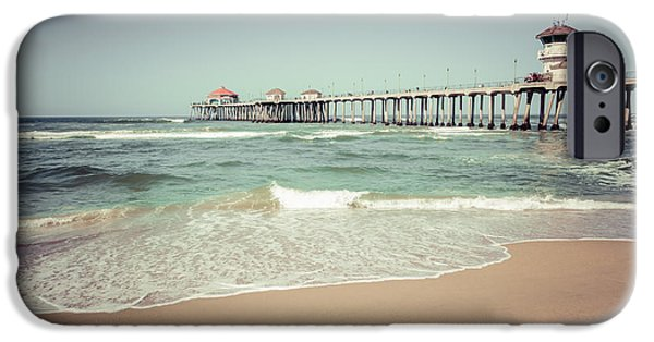 1960s iPhone Cases - Huntington Beach Pier Vintage Toned Photo iPhone Case by Paul Velgos