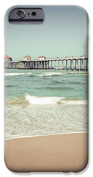 Huntington Beach Pier Vintage Toned Photo iPhone Case by Paul Velgos